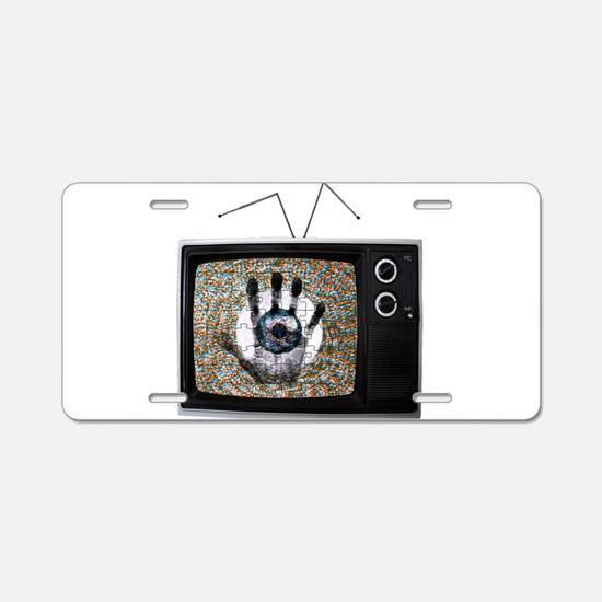 Touched Television Aluminum License Plate
