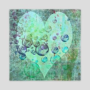 bubbles green heart Queen Duvet