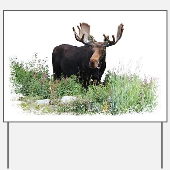 Moose Eating Flowers Yard Sign