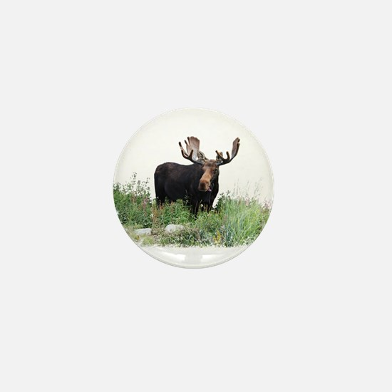 Moose Eating Flowers Mini Button