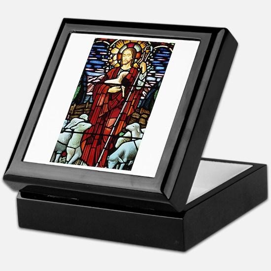 Jesus and Lambs Stained Glass Keepsake Box