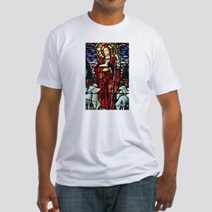 Jesus and Lambs Stained Glass Fitted T-Shirt