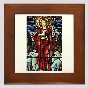 Jesus and Lambs Stained Glass Framed Tile