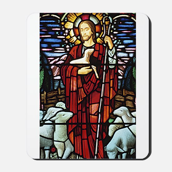 Jesus and Lambs Stained Glass Mousepad