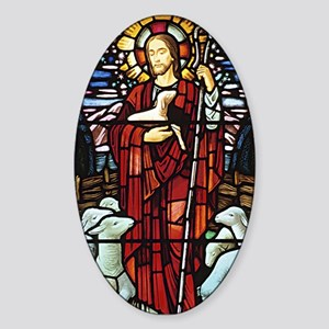 Jesus and Lambs Stained Glass Oval Sticker