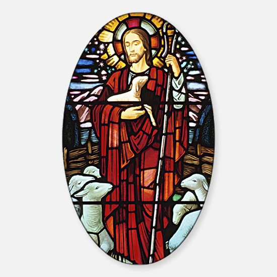 Jesus and Lambs Stained Glass Oval Decal