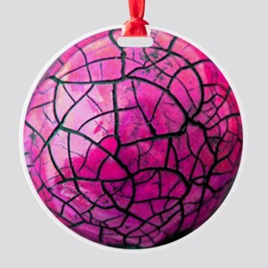 Pink Crackle Shatterproof Round Ornament