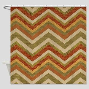 Burnt Orange Burlap Zigzags Shower Curtain