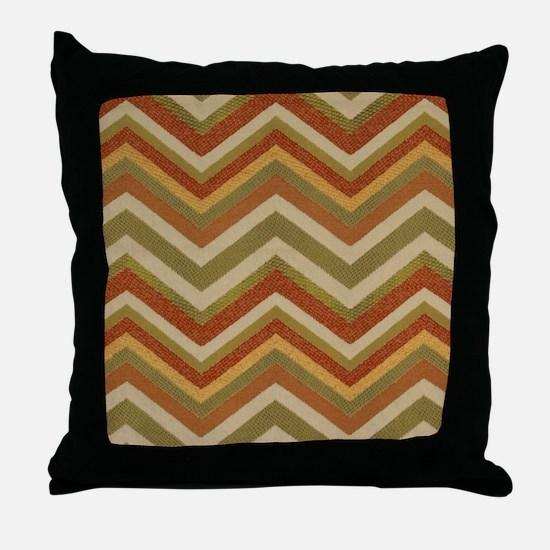 Burnt Orange Burlap Zigzags Throw Pillow