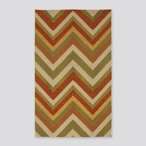 Burnt Orange Burlap Zigzags 3'x5' Area Rug