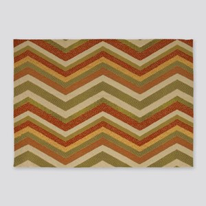 Burnt Orange Burlap Zigzags 5'x7'Area Rug