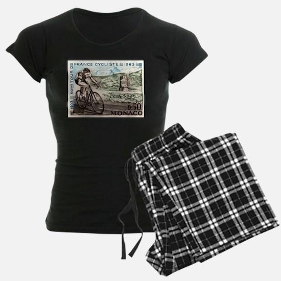 1963 Monaco Racing Cyclist Postage Stamp Pajamas