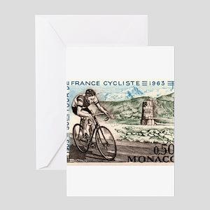 1963 Monaco Racing Cyclist Postage Stamp Greeting