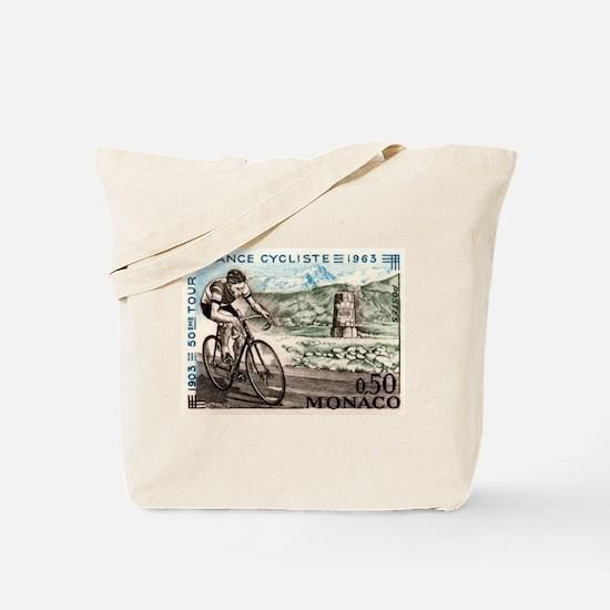 1963 Monaco Racing Cyclist Postage Stamp Tote Bag