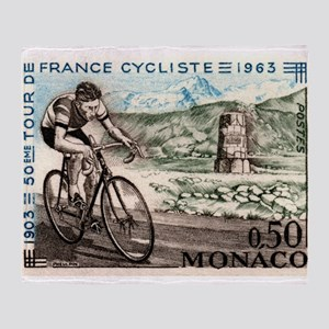 1963 Monaco Racing Cyclist Postage Stamp Throw Bla