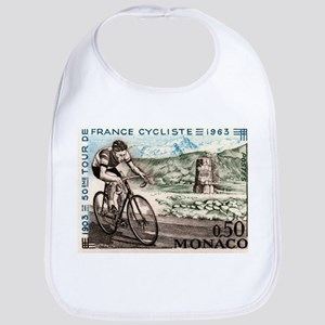 1963 Monaco Racing Cyclist Postage Stamp Bib
