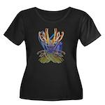 Wishbones Women's Plus Size Scoop Neck Dark T-Shir