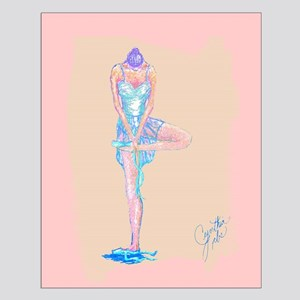 Ballet Dancer Standing Tying Shoe Small Poster