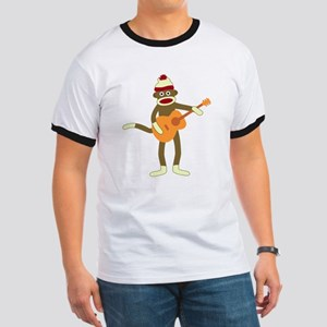 Sock Monkey Acoustic Guitar Player Ringer T-Shirt