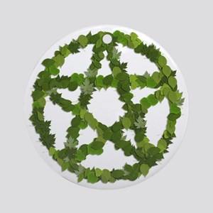 Pagan Leaves Pentagram Round Ornament
