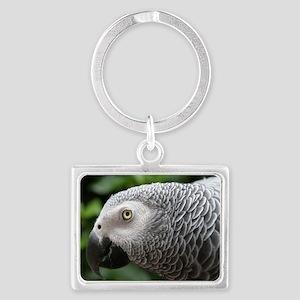 African Grey Parrot Landscape Keychain