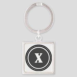 Gray X Square Keychain