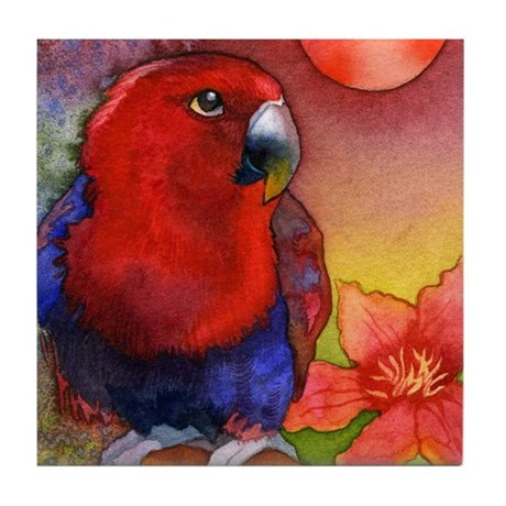 Eclectus Parrot and Red Sun Tile Coaster