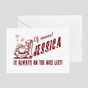 Jessica design greeting cards cafepress nice list jessica christmas greeting cards packag m4hsunfo