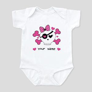Personalized Valentine Girls Skull Infant Bodysuit