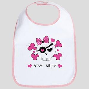 Personalized Valentine Girls Skull Bib