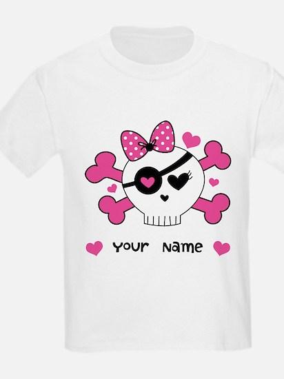 Personalized Valentine Girls Skull T-Shirt