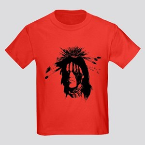 American Indian with Painted Face Kids Dark T-Shir