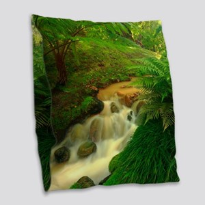 Stream in the forest Burlap Throw Pillow