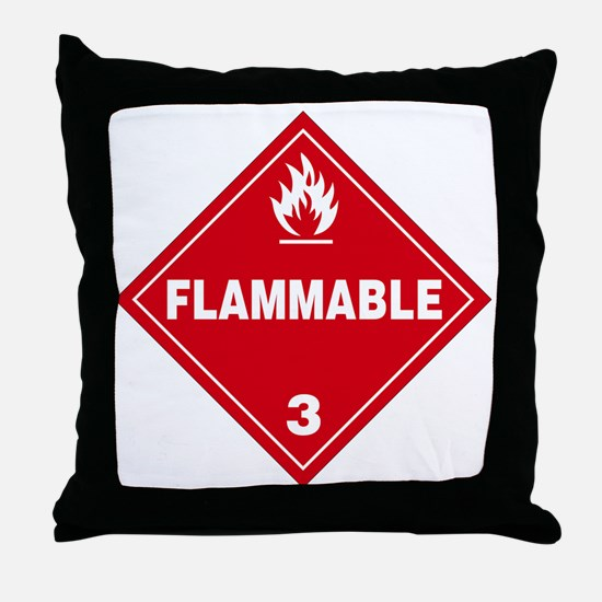 Red Flammable Warning Sign Throw Pillow