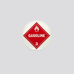 Gasoline Red Warning Sign Mini Button