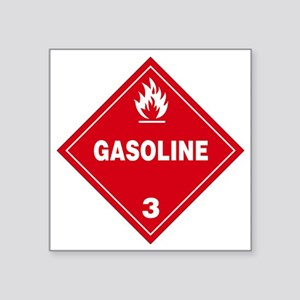 """Gasoline Red Warning Sign Square Sticker 3"""" x 3"""""""