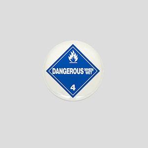 Blue Dangerous When Wet Warning Sign Mini Button
