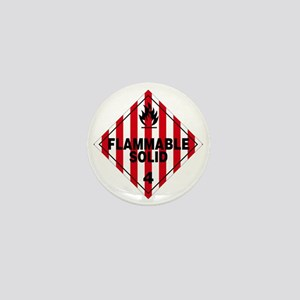 Flammable Solid Warning Sign Mini Button