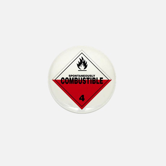 Spontaneously Combustible Warning Sign Mini Button