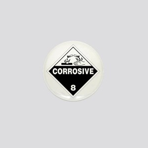 Corrosive Danger Warning Sign Mini Button