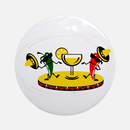Dancing peppers with drink Ornament (Round)