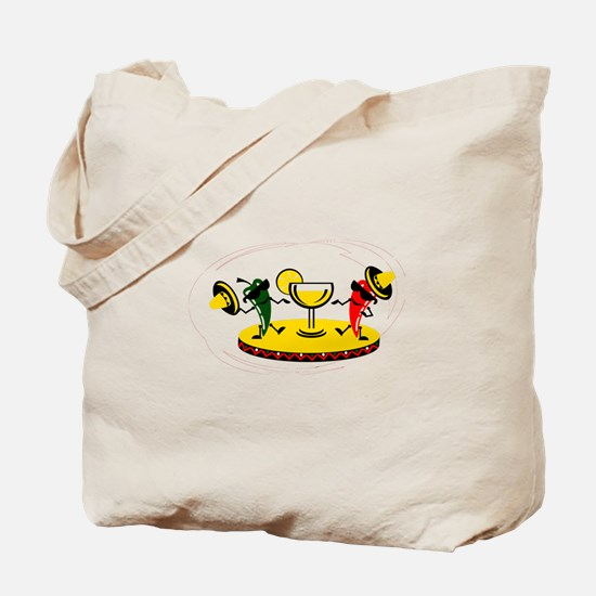 Dancing peppers with drink Tote Bag