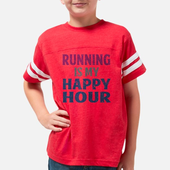 Running Is My Happy Hour Youth Football Shirt
