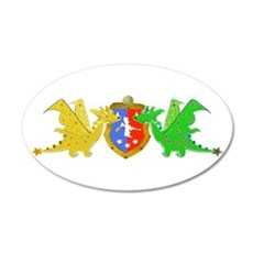 Cute Cartoon Dragons Crest Coat of Arms Wall Decal