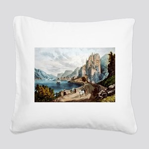 View on the Rhine - 1856 Square Canvas Pillow