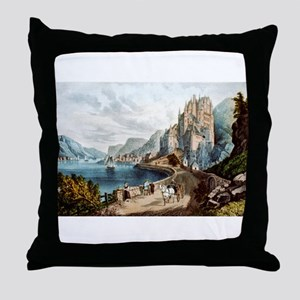 View on the Rhine - 1856 Throw Pillow
