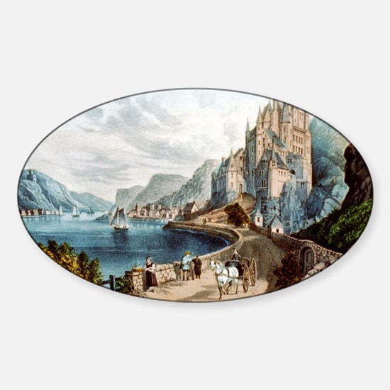 View on the Rhine - 1856 Sticker (Oval)