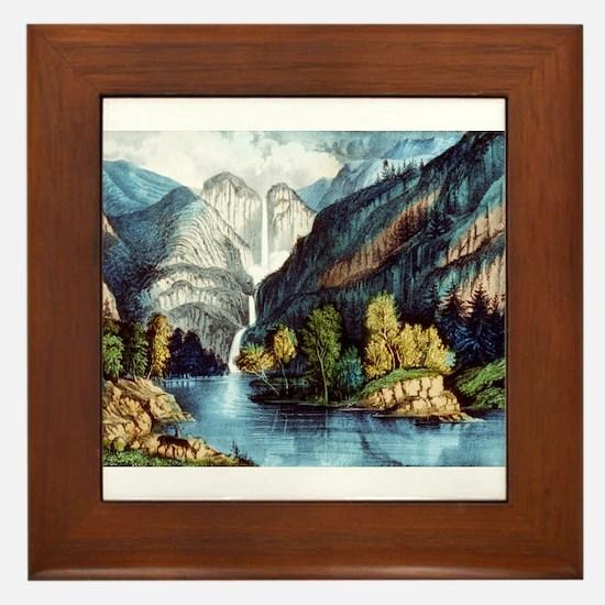 Yo-semite Falls California - 1856 Framed Tile
