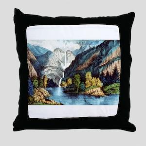 Yo-semite Falls California - 1856 Throw Pillow