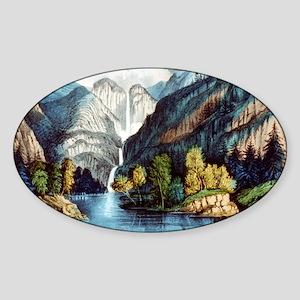 Yo-semite Falls California - 1856 Sticker (Oval)